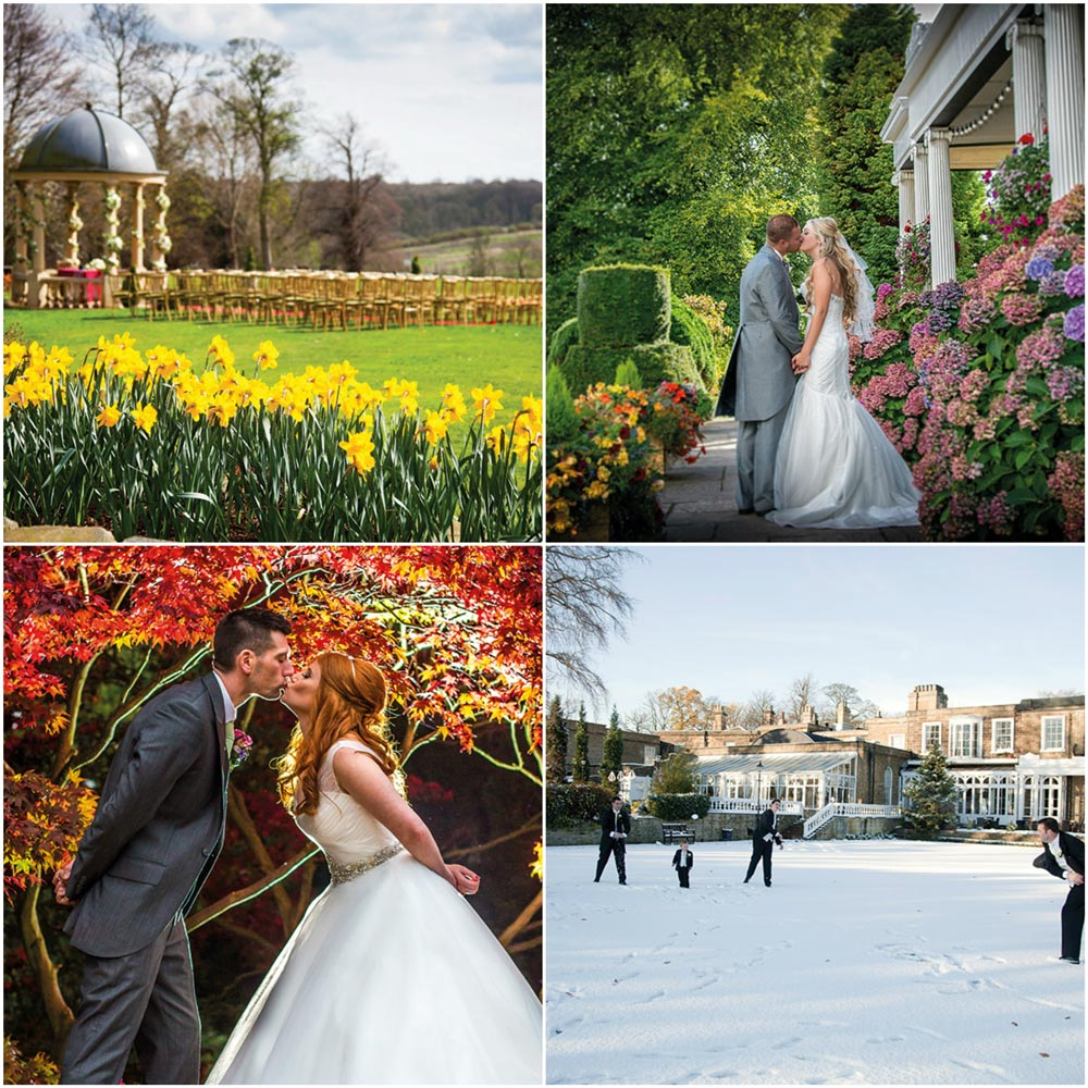 A collage of images giving wedding ideas at Ringwood hall Hotel